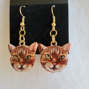 Women's orange tabby cat earrings